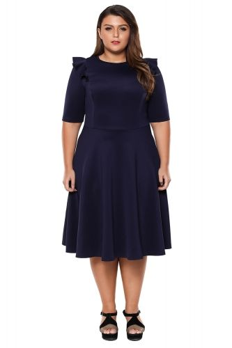 Wholesale Navy Frill Sleeve Plus Size Skater Dress | Angelica ...