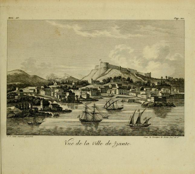 ZANTE - Vue de la villa de Zante , late 18th century , from  Voyage historique par André-Grasset Saint-Sauveur, vol. III,  Paris, by Taverni...