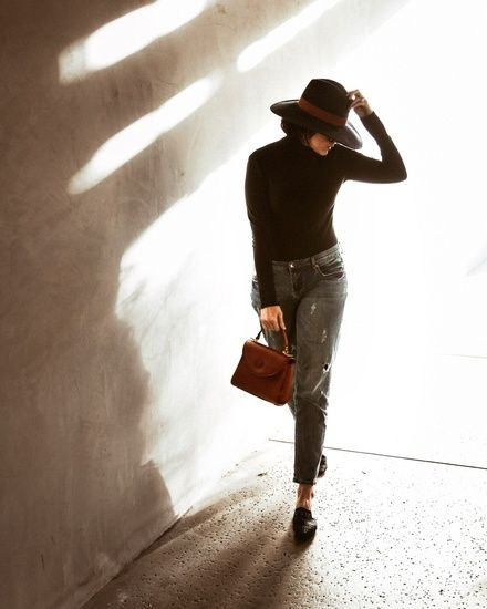 415542b40ffc In the shadows // wide brimmed hat, black turtleneck and one Teaspoon  boyfriend jeans with woven black slides and a brown leather Mark Cross bag # ShopStyle ...