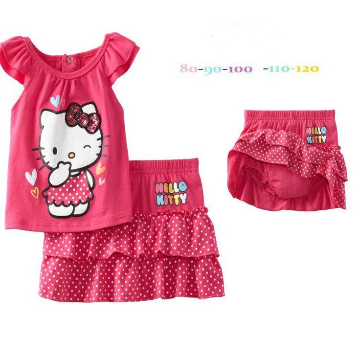 Летняя мода девушки устанавливает мультфильм hello kitty детская одежда хлопок роза красная дети тенниска + точка брюки юбка детей комплект одежды