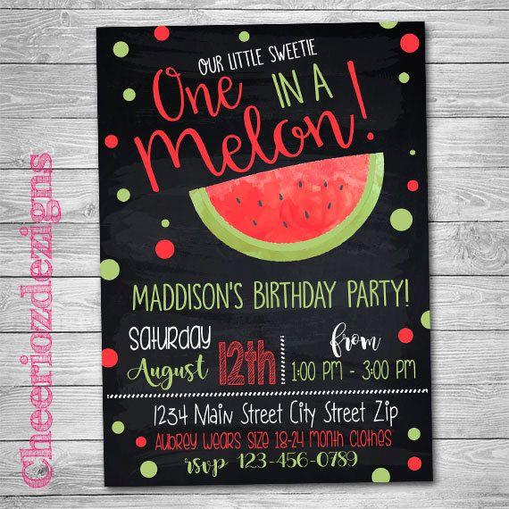 Watermelon Birthday Invitation Chalkboard, One in a melon, Melon First Birthday, Melon Party Summer Invite, Digital Invite by CheeriozDezigns on Etsy
