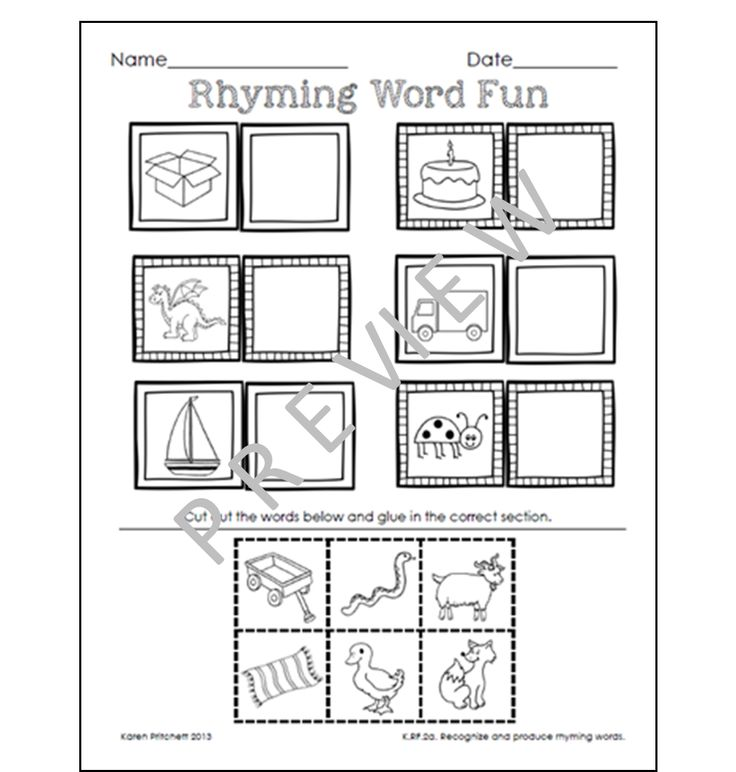 Rhyming cut and paste sheets. Set also includes color and