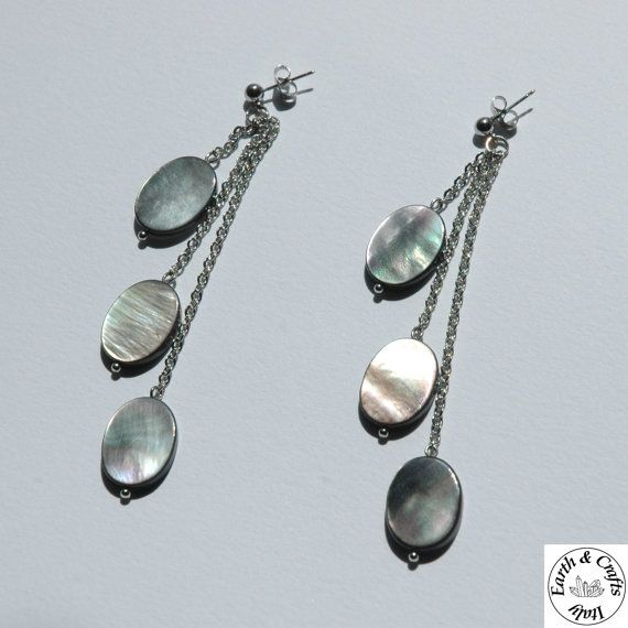 Orecchini di color argento con perno a di EarthandCraftsItaly