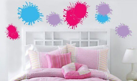 GIRLS Paint Splats Vinyl Wall Art Sticker by greatwallsoffire, $39.99