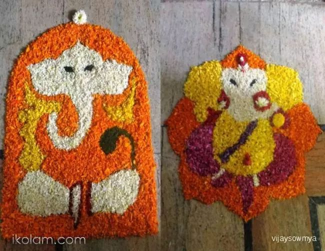 Ganesha flower rangoli - via ArtsyCraftsyMom.com - Ganesh Chaturthi Crafts and Activities to do with Kids - Make a Clay Ganesha, decorate, Ganesha's throne & umbrella, rangoli ideas, recipes, books and more