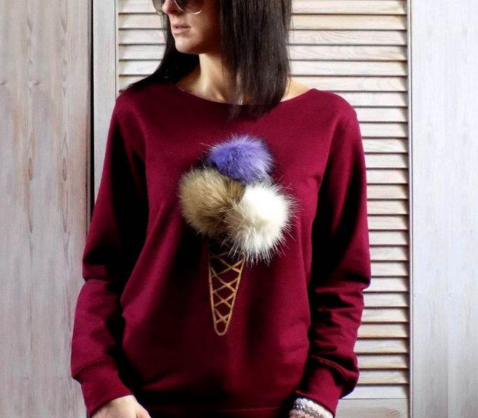"""luźna miękka bluza z pomponami  """"LODY"""" BURGUND - AK-Creativo - Koszulki i bluzy"""
