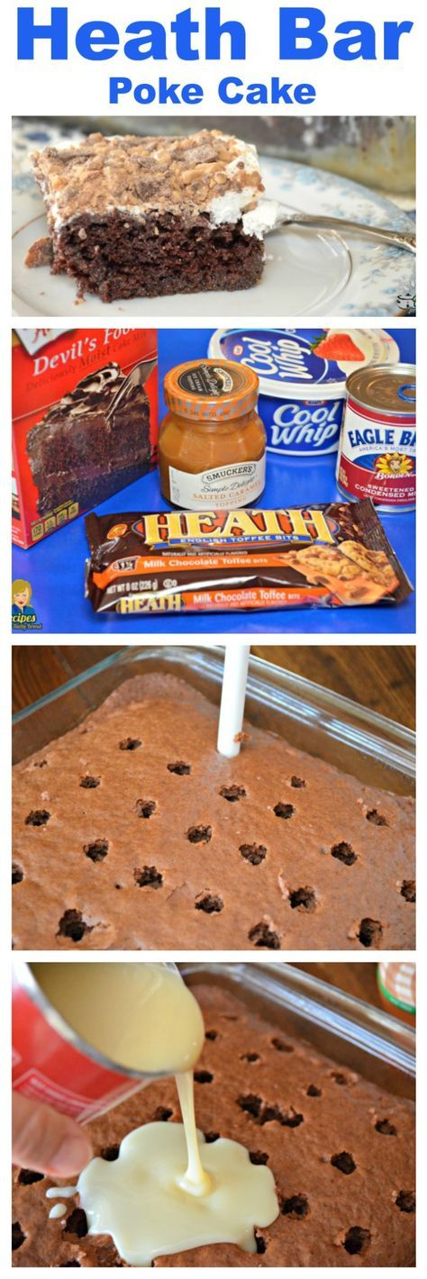Heath Bar Cake - This poke cake is so easy to make with only 5 ingredients. #cake #easycake #poke cake #dessert #desserts