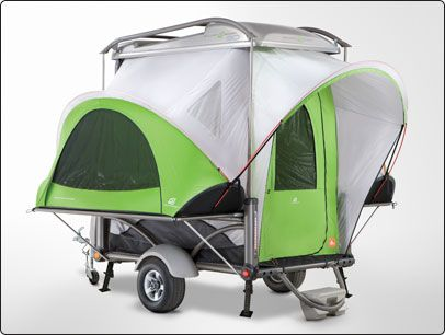 Tiny Camper - can be pulled by a motorcycle. SylvanSport GO - a unique and modern camping and travel trailer. Weighing in at a mere 700 lbs. it can be easily towed by small vehicles.