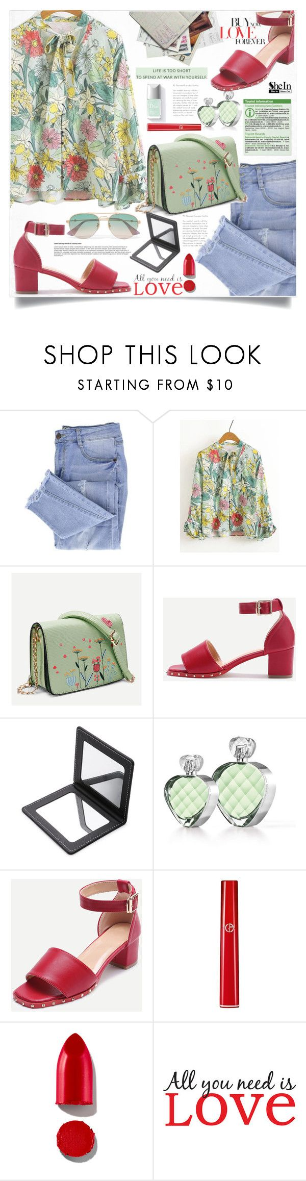 """""""Shein Green&Red Style"""" by lillili25 ❤ liked on Polyvore featuring Essie, Elizabeth Arden, Armani Beauty, Rodin, WALL and Gucci"""