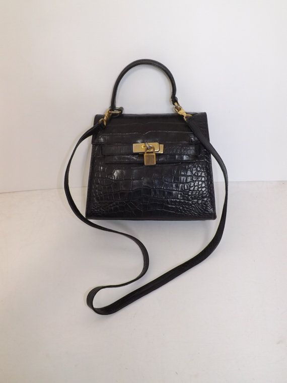 Vintage Harvey Nichols black leather mock croc by 4getmenotshop