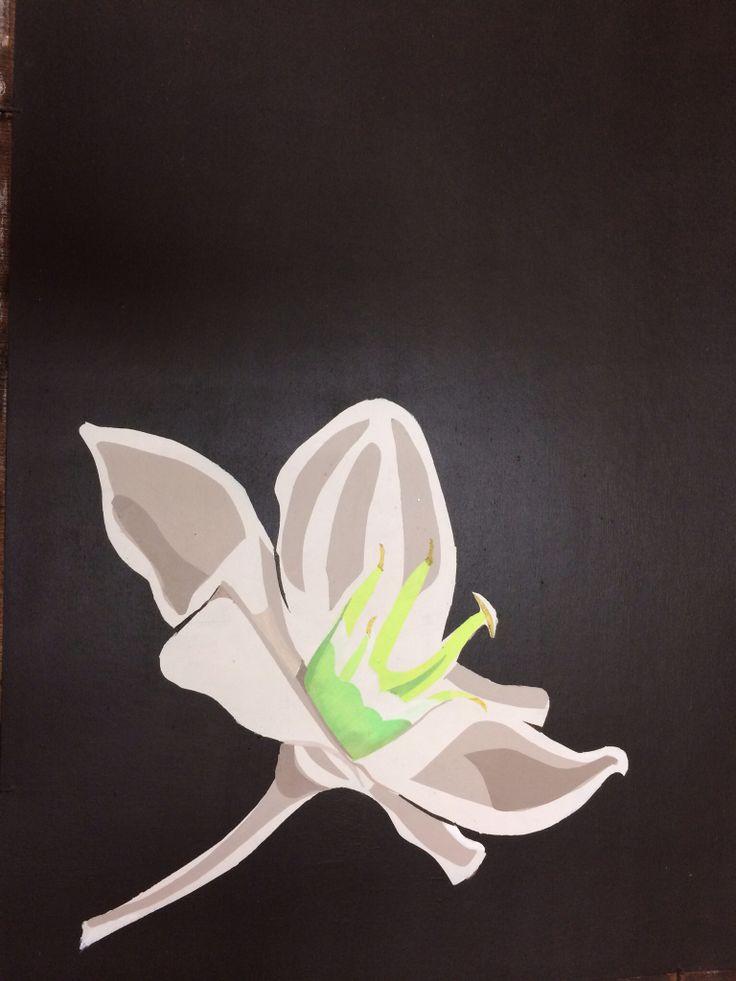 Sjabloon techniek, 60 x 40 cm acryl