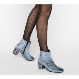Boots velours bleu grisé à talon pailleté