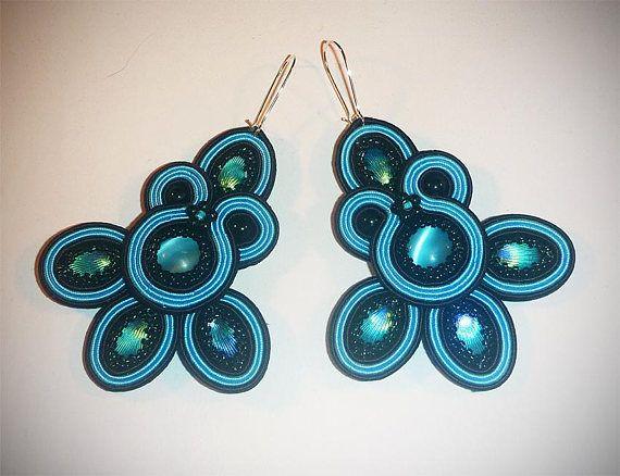 Soutache earrings  Blue Romance