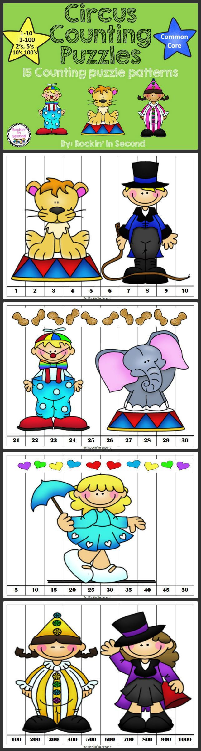 Circus Themed Counting Puzzles 15 Counting Puzzles. Common Core Aligned  Space themed puzzles counting from: 1-10 11-20 21-30 31-40 41-50 51-60 61-70 71-80 81-90 91-100  Patterns Counting by: 2's, 5's, 10's, 100's  Print, Laminate, and Cut. Instant hands-on puzzles.  Follow me on TPT for new and exciting activities and freebies! Feel free to pin on Pinterest too.