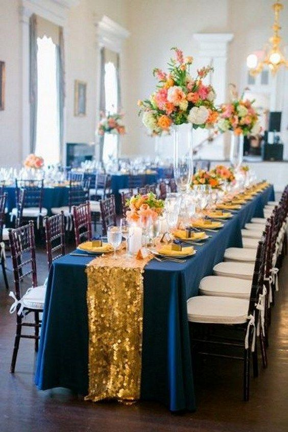 Gold Navy and Orange Wedding Decor / http://www.deerpearlflowers.com/navy-blue-and-gold-wedding-color-ideas/2/