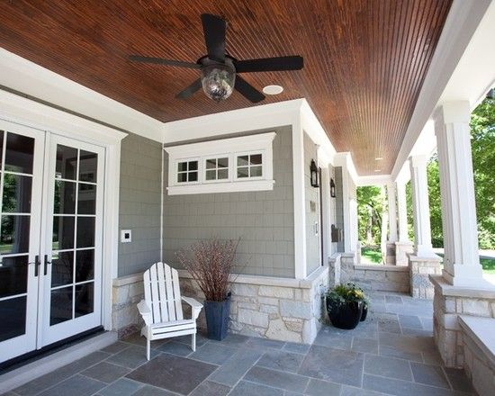Nantucket style love for back patio nice white trim and for French doors back porch