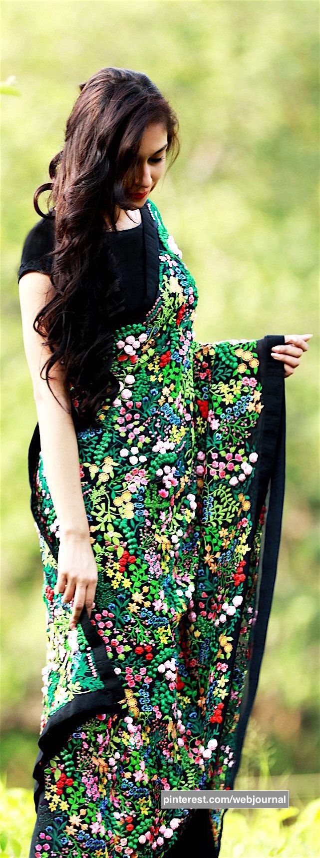 A thousand flowers: pure silk chiffon saree from eastandgrace.com