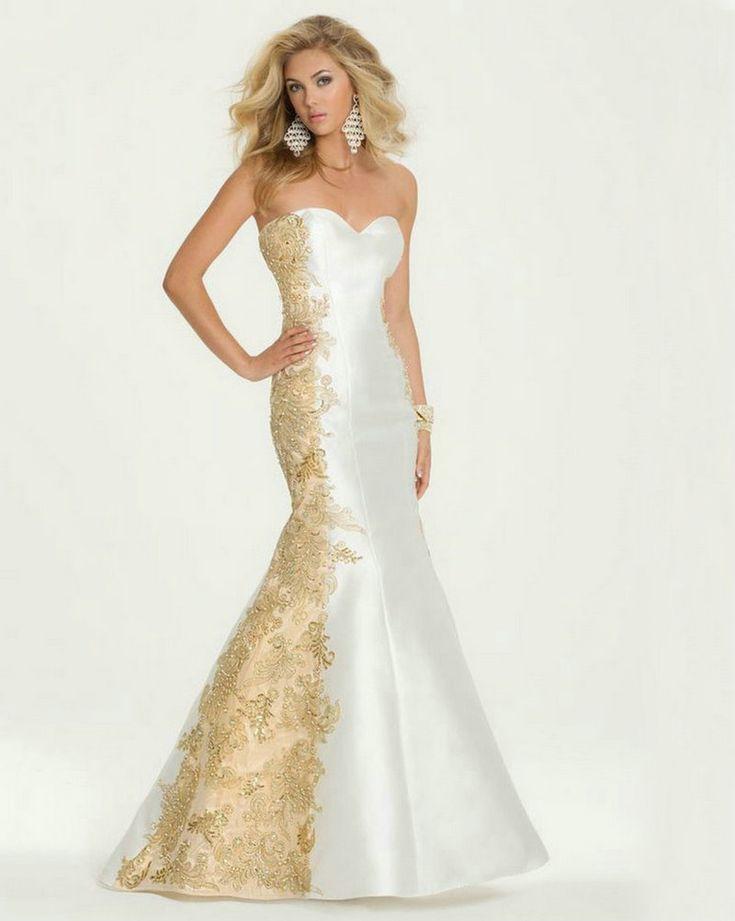 White-and-font-b-Gold-b-font-Evening-font-b-Dress-b-font-font-b-Mermaid-