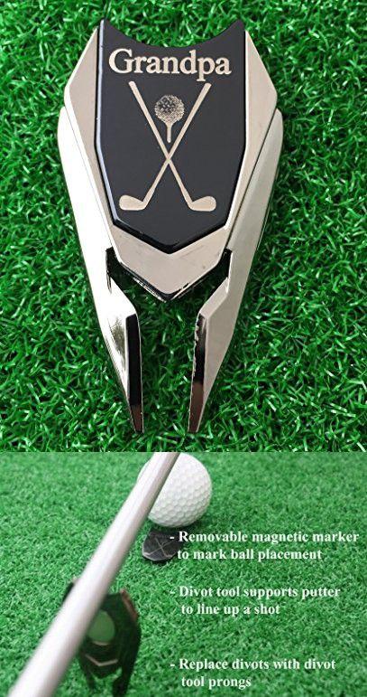 GRANDPA Engraved Golf Gift Divot Tool And Ball Marker Black