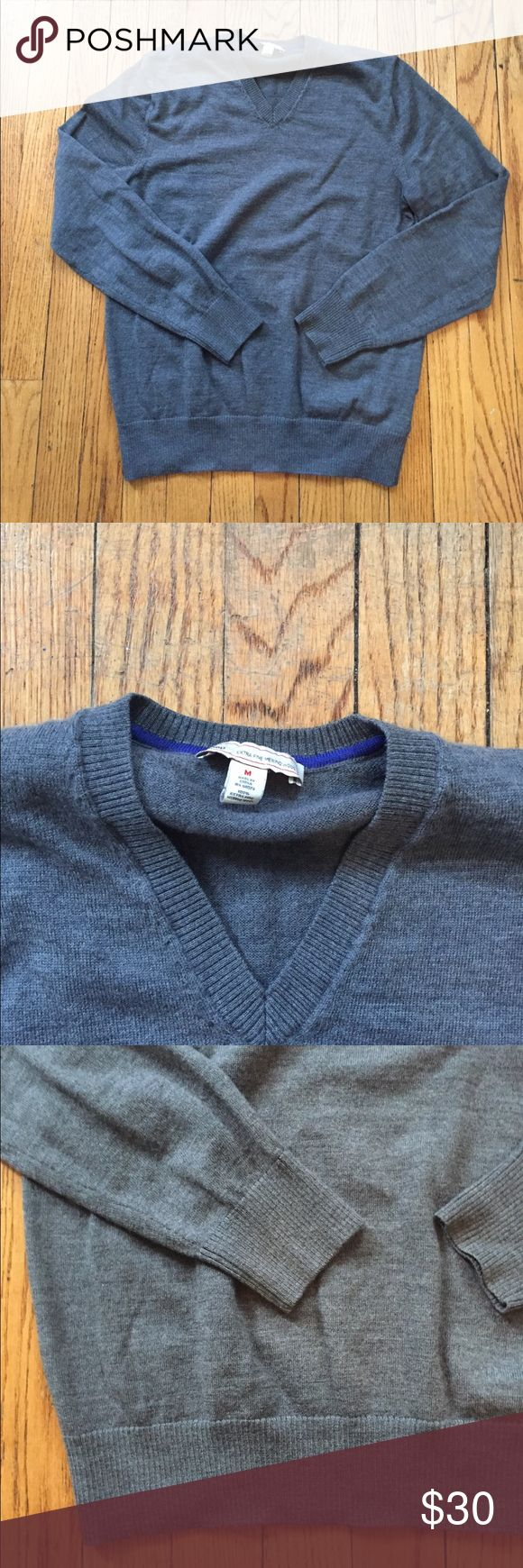 "Men's v neck sweater Men's fit, v is smaller than women's style, fit is looser, but not flowy. Heather gray, ""extra fine merino wool"" GAP Sweaters V-Necks"