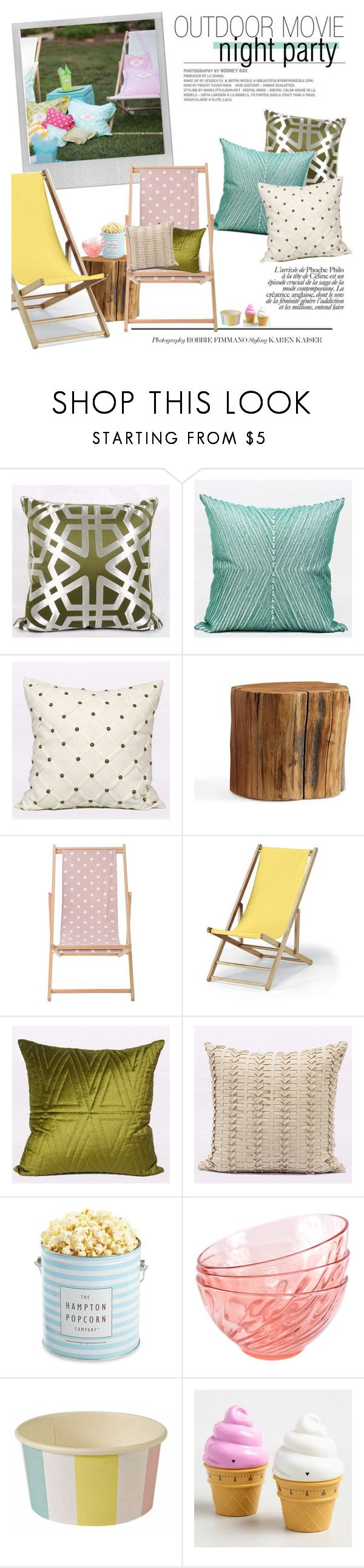 """outdoor movie night party"" by gentillehome ❤ liked on Polyvore featuring interior, interiors, interior design, home, home decor, interior decorating, Polaroid, Pottery Barn, Bloomingville and Telescope Casual"