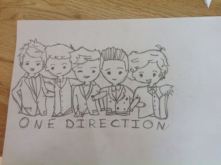 One Direction cartoon. From left to right: Niall, Liam, Louis, Zayn, Harry