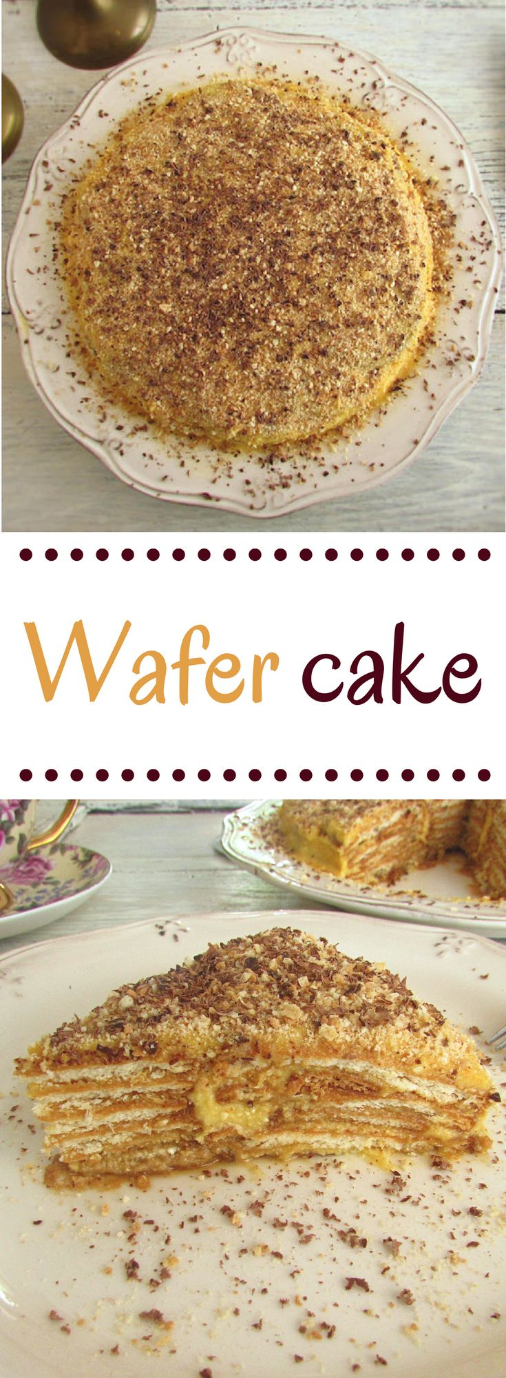 Wafer cake | Food From Portugal. Delicious wafer cake, topped with a cream prepared with egg yolks, sugar and margarine, sprinkled with ground biscuit and grated chocolate. #wafer #recipe #cake
