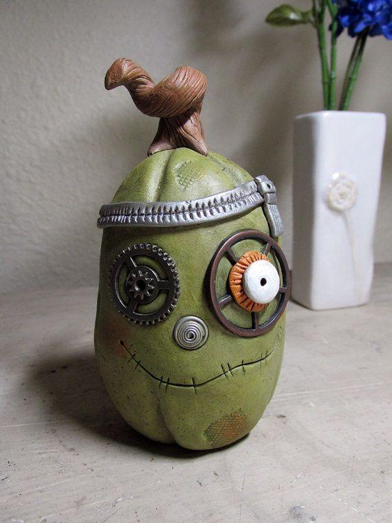 Halloween steampunk Pumpkin Frankenstein style by JanellBerryman, $65.00