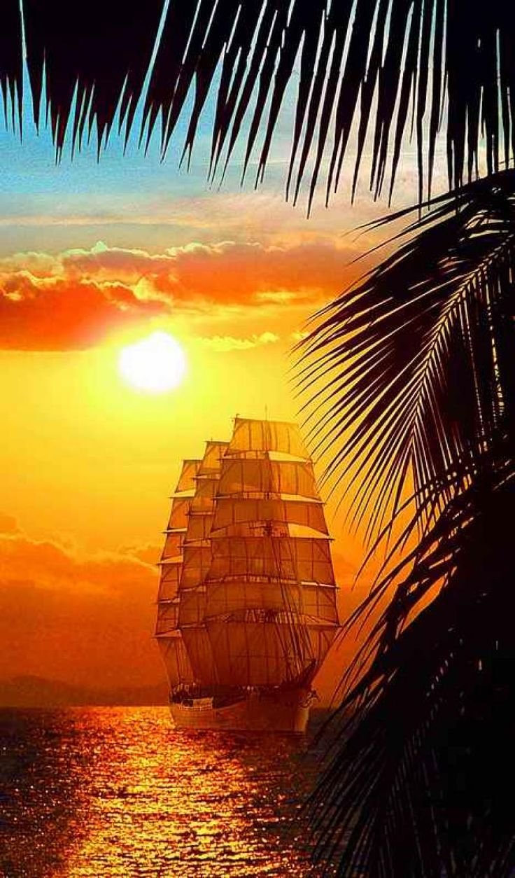 Tall ship in tropical waters.