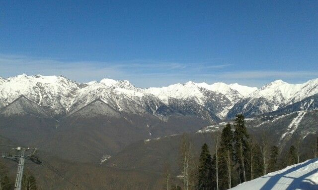 Winter skiing in Sochi. View to Caucasus