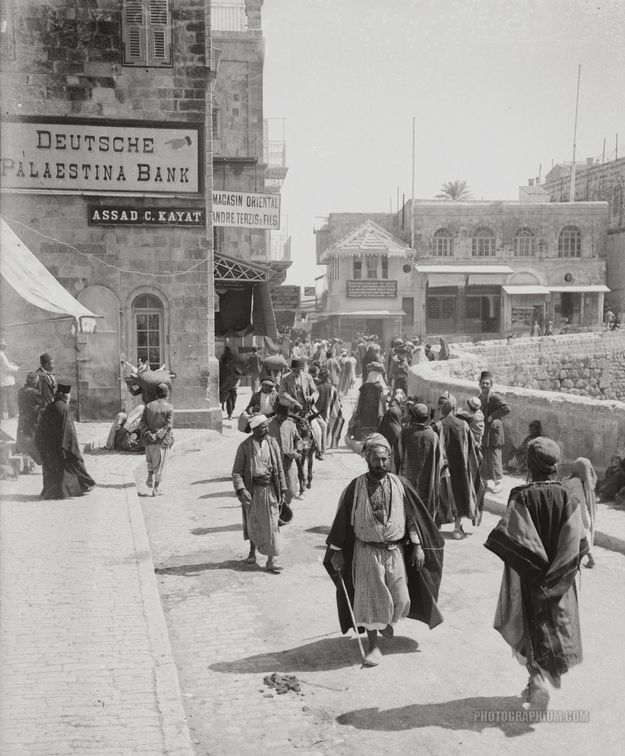 Muslims, Orthodox Jews, Armenian Christians, men and women, different clothing styles and a thriving cityscape of Jerusalem. In 1896, 85% of the population in Palestine was Muslim, 10% Christian and less than 5% Jewish (half the population of Jerusalem, however, was Jewish - this was also the period during the first aliyah).