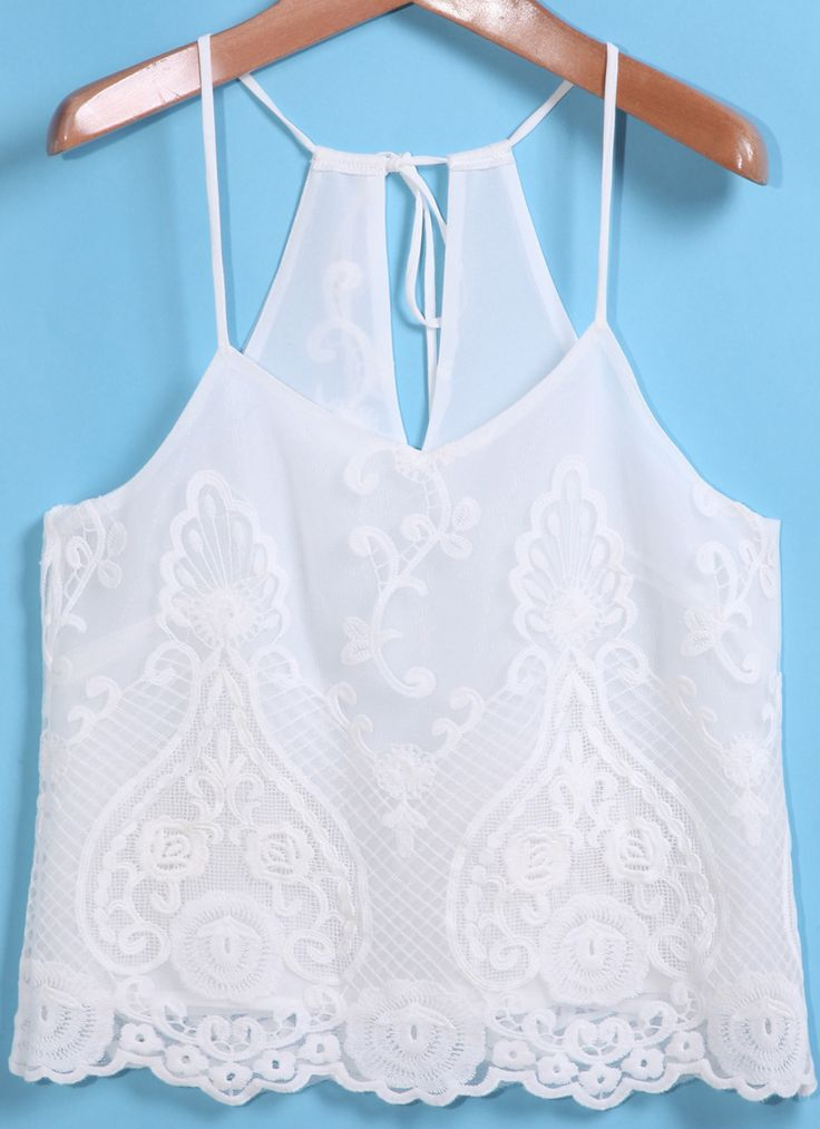 White Spaghetti Strap Lace Vest