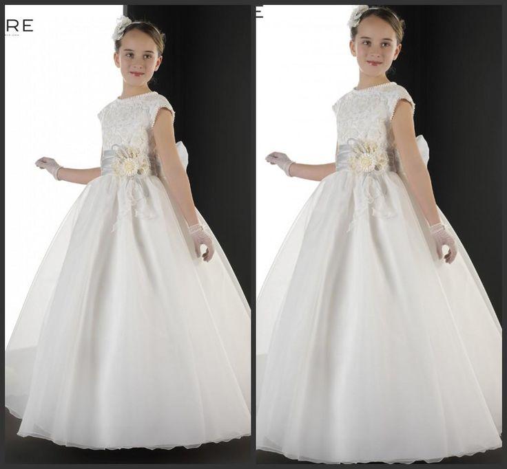 Белые Девушки Pageant Платья Кружева Applqiues Молния Длина Пола Линия Первое Причастие Платье Девушки Цветка Платья Для WeddingsAC16
