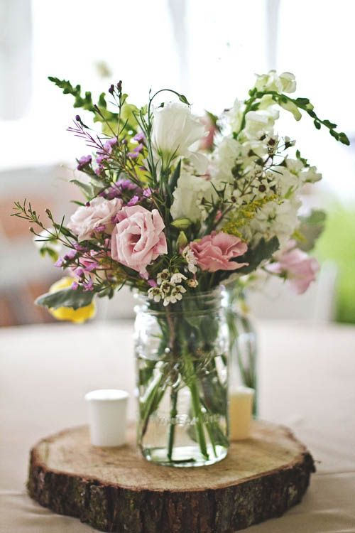 Centerpiece idea- could use log pieces instead of silver platters--> way cheaper. could do log, piece of lace, candles/mason jar with flowers. could attach door handles on either side of the log piece so it resembles a platter. NEW FAVORITE IDEA