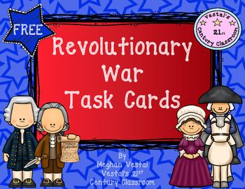 FREE Revolutionary War task cards to help your students recall important information from the Revolutionary War! The Declaration of Independence, important locations during the Revolutionary War, and important Revolutionary War figures are all included.
