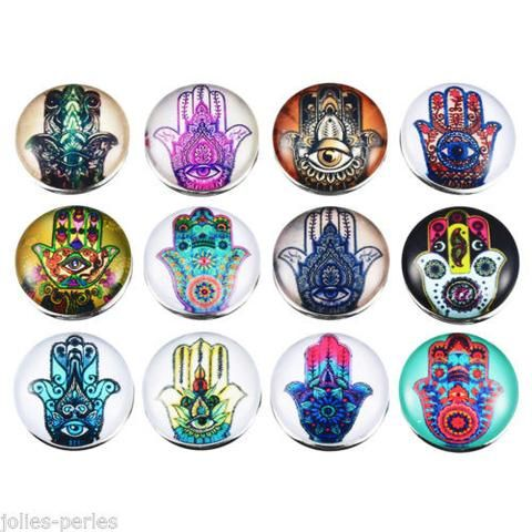 JP 12PCs Mixed Palm Hand Patterned Glass Buttons Jewelry Accessories 18mm