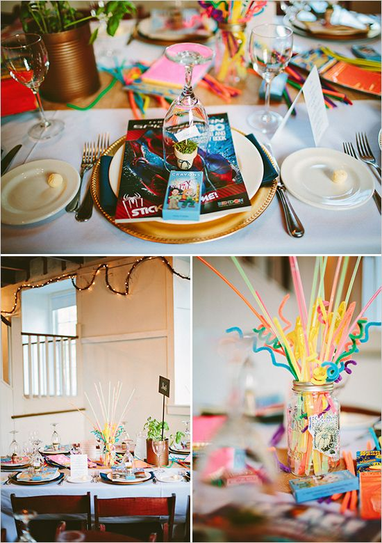 kid table decor ideas #wedding #bright #colorful
