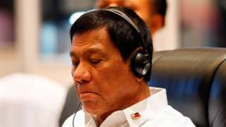 Philippines President Rodrigo Duterte attends a plenary session at the Asean summit in Vientiane, Laos 6 September.