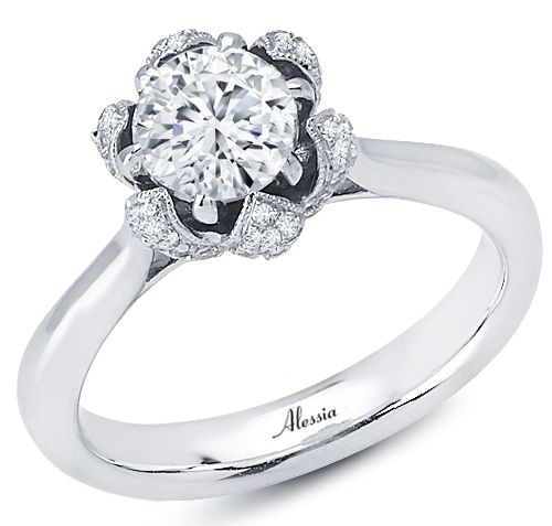 Bloom Halo Diamond Engagement Ring from Alessia Collection - A blooming floral motif frames the 0.75 ct. round center stone (not included) of this 18k white gold engagement ring, with 82 round pave diamonds, 0.52 cts. t.w. MSRP: $2,525