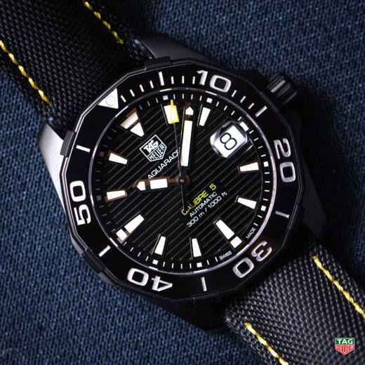 Introducing TAG Heuer Aquaracer 300M Calibre 5 Ceramic Bezel, all dressed in black.