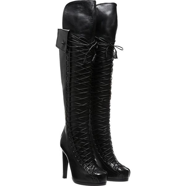 TABITHA SIMMONS 'Codi' Leather Over-The-Knee Boots (£490) ❤ liked on Polyvore featuring shoes, boots, heels, botas, schuhe, black thigh high boots, over-the-knee lace-up boots, black boots, black over the knee boots and black leather boots