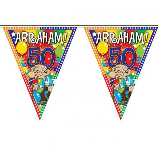Abraham 50 jaar vlaggenlijn 10 meter. Feestelijke vlaggenlijn voor de jarige Abraham van plastic materiaal. Deze Abraham 50 jaar slinger is ongeveer 10 meter lang.