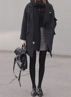 grey coat + black scarf + mini pencil skirt + bag …