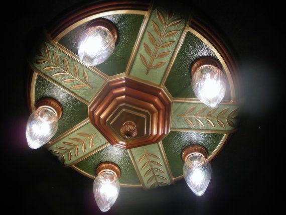 Art Deco Restored 5 Light Flushmount by RobinsVintageLights, $375.00