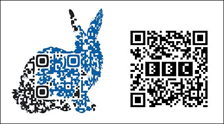 A QR Code with an embedded logo or graphic design.  Or put a chicken around it:)