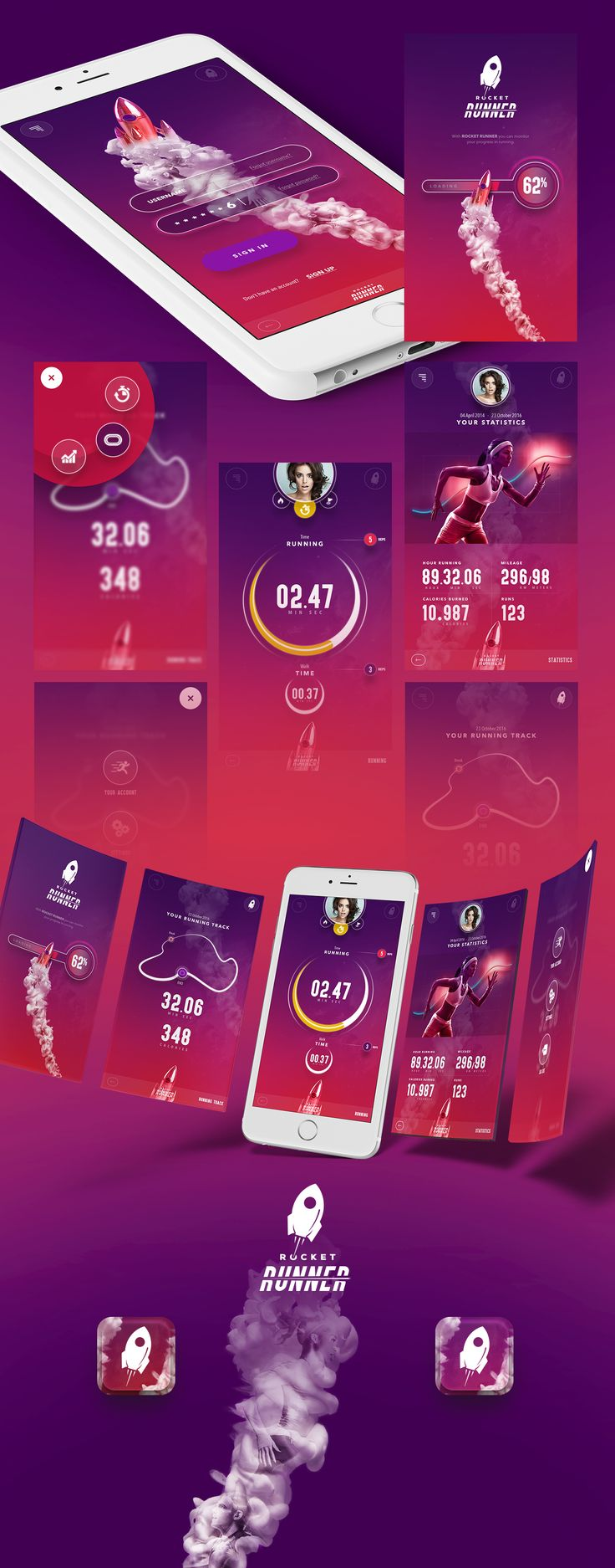 Rocket Runner app on Behance