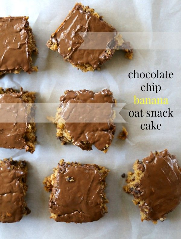 Chocolate Chip Banana Oat Snack Cake with Peanut Butter Chocolate Fro ...
