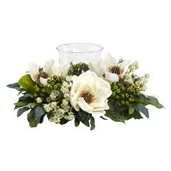 Augment the sense of elegance in your home or office with this graceful magnolia flower arrangement and candelabrum by Nearly Natural Silk Plants. The faux bouquet is constructed from polyester, plast