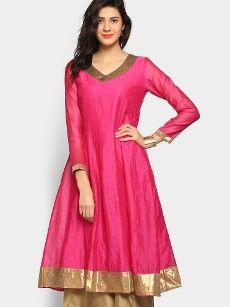 abof Ethnic Dark Pink Anarkali Chanderi Kurta
