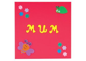 Mum canvas. A simple and effective canvas gift for Mother's Day. The children glue on the letters, decorate with foam bugs and sequin flowers.